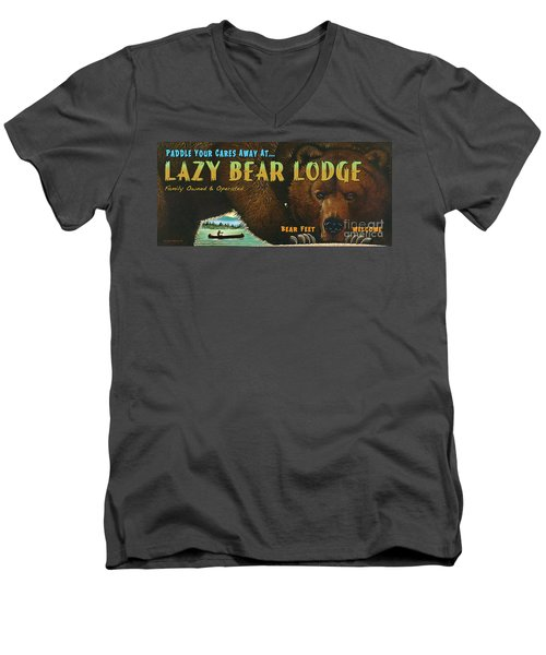 Men's V-Neck T-Shirt featuring the painting Lazy Bear Lodge Sign by Wayne McGloughlin
