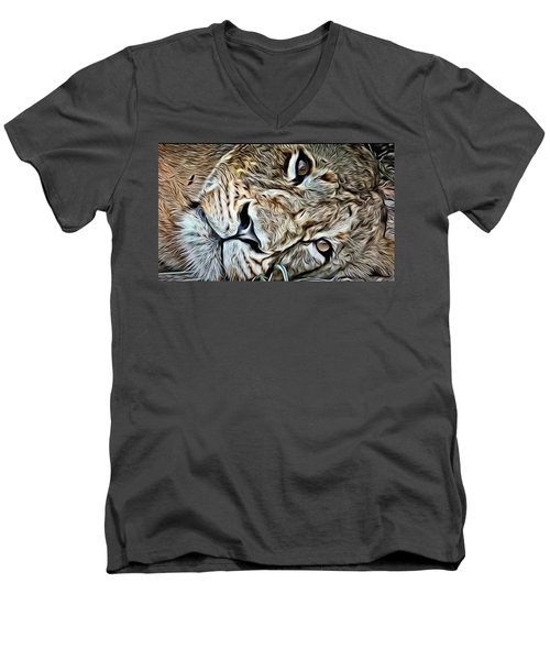 Lazy Lion Men's V-Neck T-Shirt