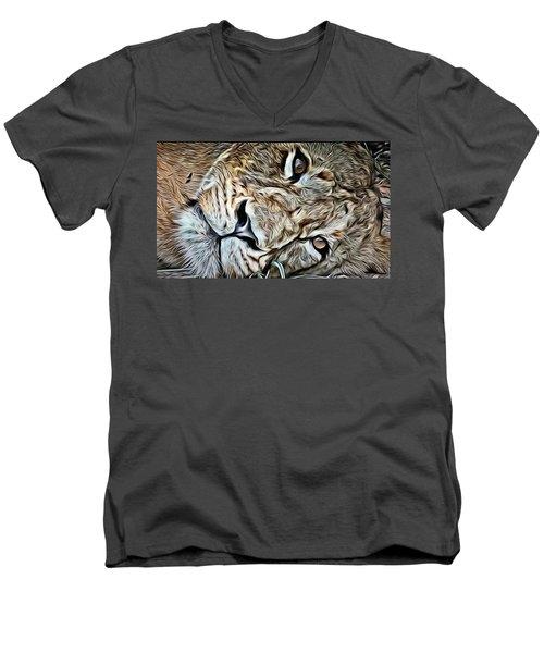 Lazy Lion Men's V-Neck T-Shirt