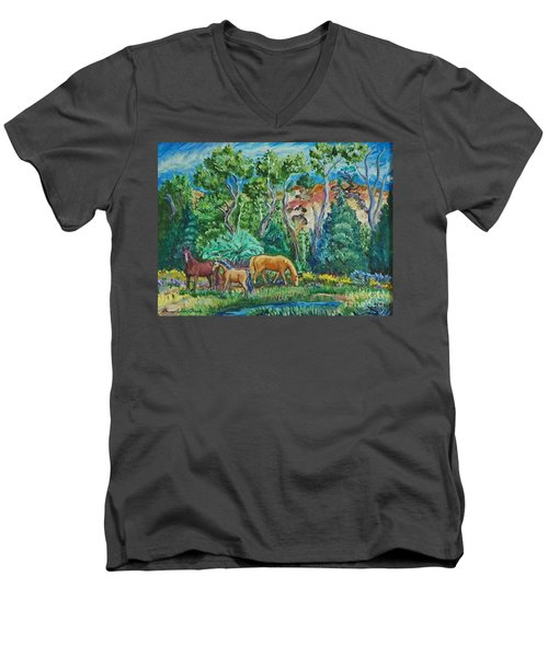 Lazy Wyoming Afternoon Men's V-Neck T-Shirt by Dawn Senior-Trask