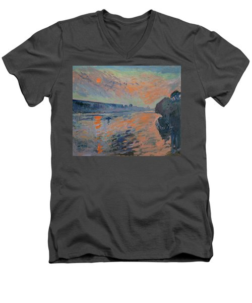 Le Coucher Du Soleil La Meuse Maastricht Men's V-Neck T-Shirt by Nop Briex