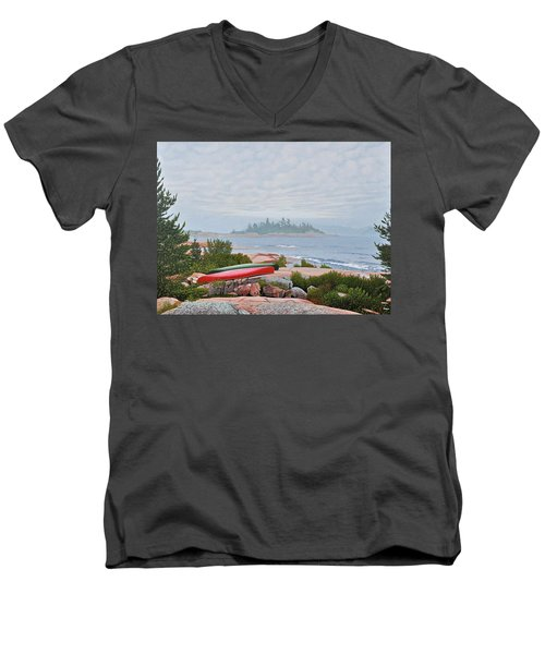 Men's V-Neck T-Shirt featuring the painting Le Hayes Island by Kenneth M Kirsch