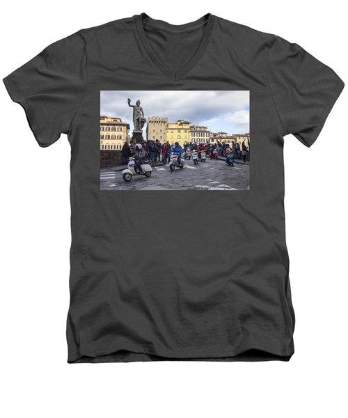 Men's V-Neck T-Shirt featuring the photograph Vespe Di Firenze by Sonny Marcyan