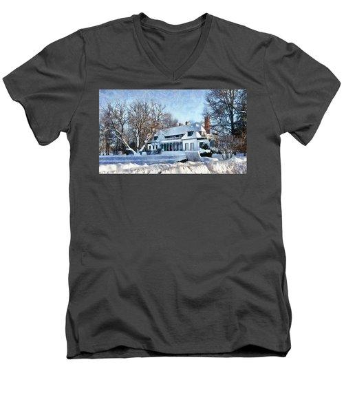 Leacock Museum In Winter Men's V-Neck T-Shirt