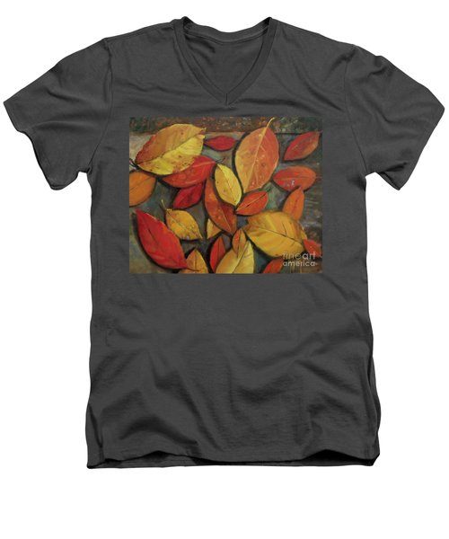 Leaf Collection Men's V-Neck T-Shirt by Mary Hubley