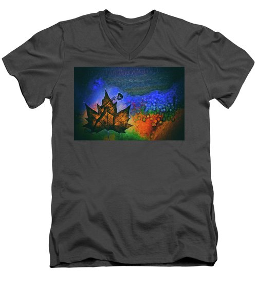 Men's V-Neck T-Shirt featuring the photograph Leaf Dancer by James Bethanis