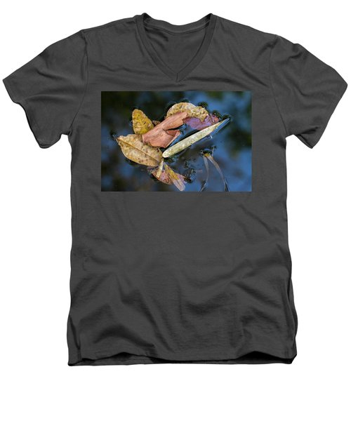 Men's V-Neck T-Shirt featuring the photograph Leaf Litter In Pond, Navegaon, 2011 by Hitendra SINKAR