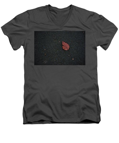 Leaf On Asphalt Men's V-Neck T-Shirt