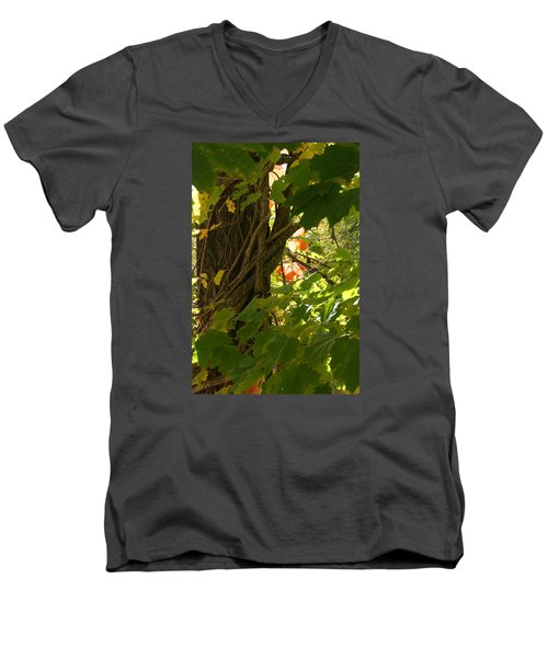 Men's V-Neck T-Shirt featuring the photograph Leaf Peeping In Red by Margie Avellino