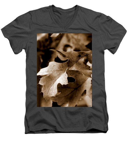 Leaf Study In Sepia IIi Men's V-Neck T-Shirt by Lauren Radke
