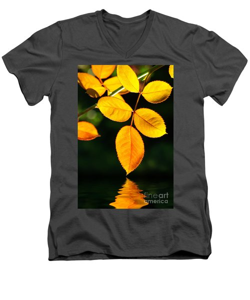 Leafs Over Water Men's V-Neck T-Shirt by Carlos Caetano