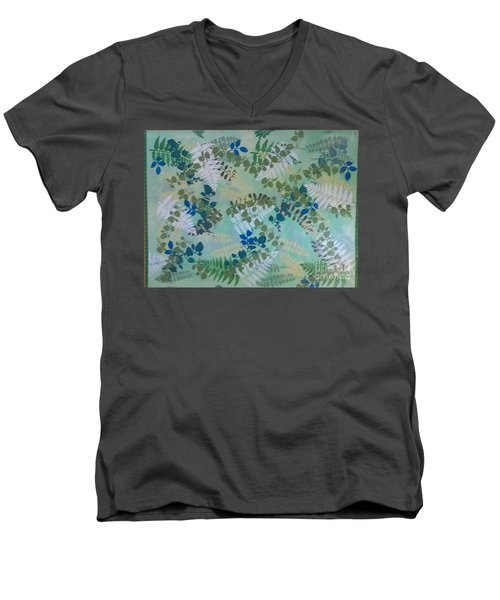 Leafy Floor Cloth - Sold Men's V-Neck T-Shirt by Judith Espinoza