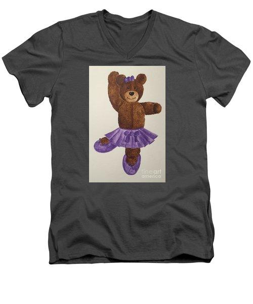 Men's V-Neck T-Shirt featuring the painting Leah's Ballerina Bear 1 by Tamir Barkan