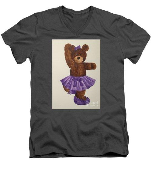 Men's V-Neck T-Shirt featuring the painting Leah's Ballerina Bear 2 by Tamir Barkan