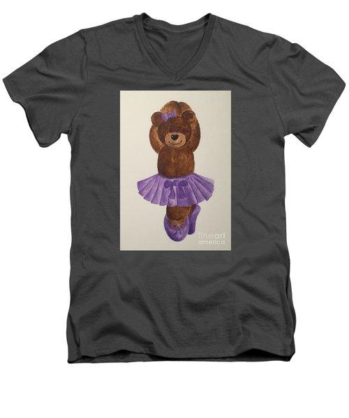 Men's V-Neck T-Shirt featuring the painting Leah's Ballerina Bear 3 by Tamir Barkan