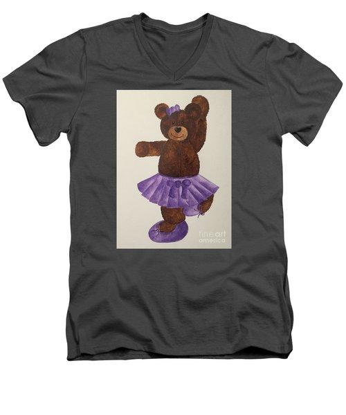 Men's V-Neck T-Shirt featuring the painting Leah's Ballerina Bear 4 by Tamir Barkan