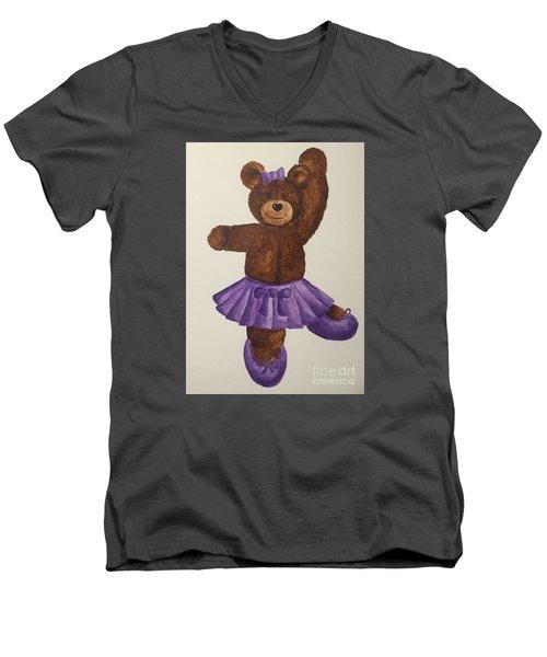 Men's V-Neck T-Shirt featuring the painting Leah's Ballerina Bear 5 by Tamir Barkan