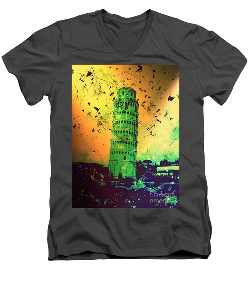 Leaning Tower Of Pisa 32 Men's V-Neck T-Shirt
