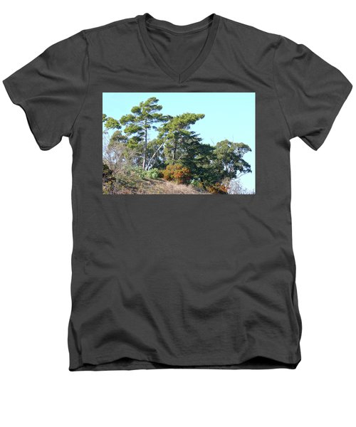Leaning Trees On Hillside Men's V-Neck T-Shirt
