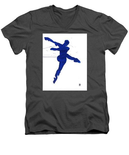 Leap Brush Blue 1 Men's V-Neck T-Shirt by Shungaboy X