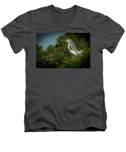 Men's V-Neck T-Shirt featuring the photograph Leap Of Faith by Marvin Spates