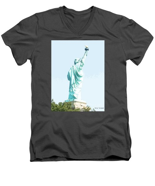Men's V-Neck T-Shirt featuring the painting Leap Of Liberty by Denise Tomasura