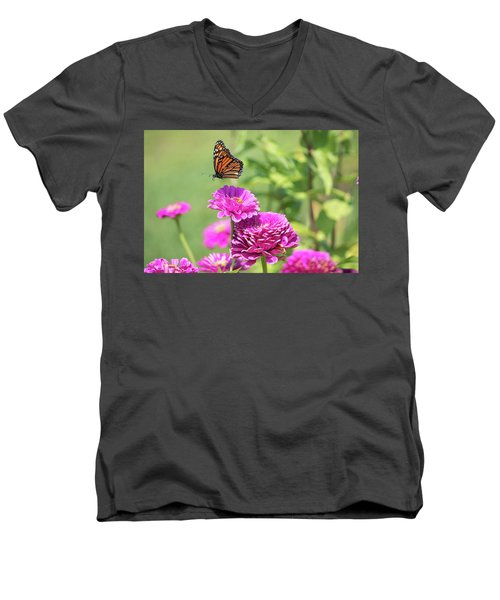 Leaping Butterfly Men's V-Neck T-Shirt