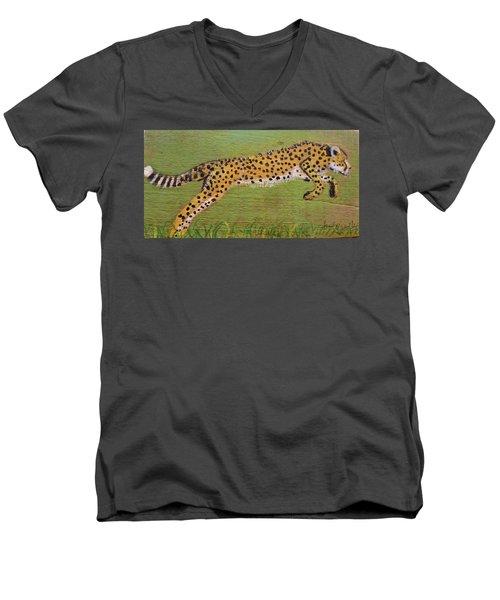 Leaping Cheetah Men's V-Neck T-Shirt by Ann Michelle Swadener