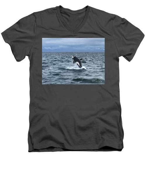 Leaping Orca Men's V-Neck T-Shirt