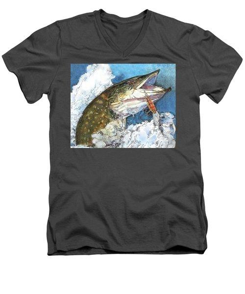 leaping Pike Men's V-Neck T-Shirt