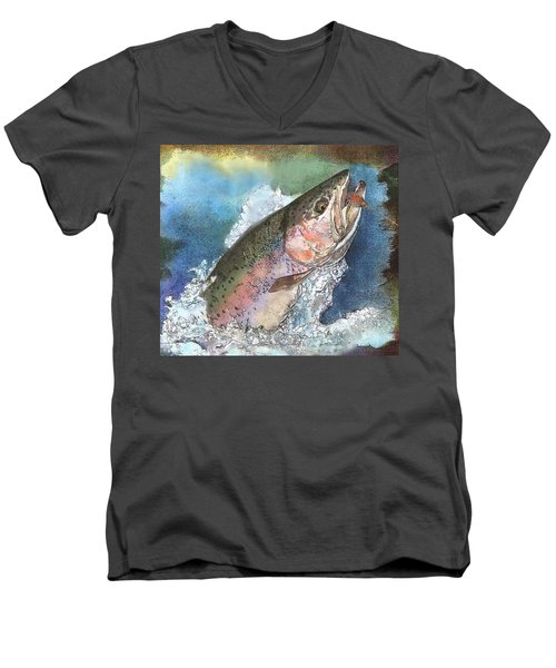 Leaping Rainbow Trout Men's V-Neck T-Shirt