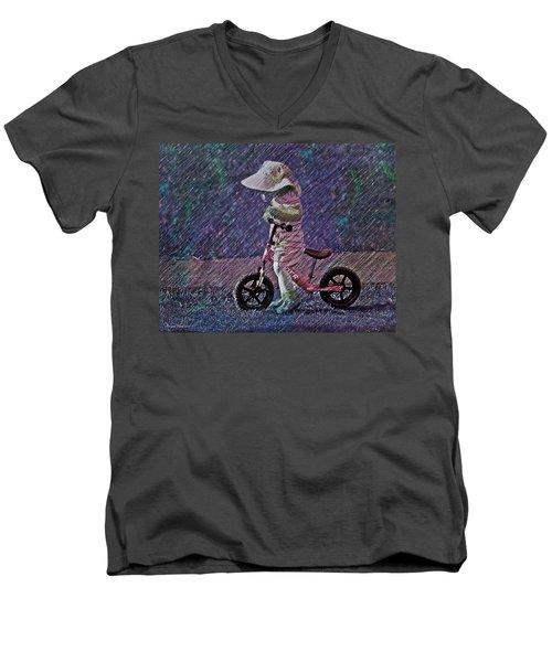 Learning To Ride Men's V-Neck T-Shirt
