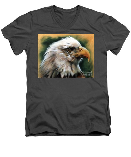 Leather Eagle Men's V-Neck T-Shirt by J W Baker