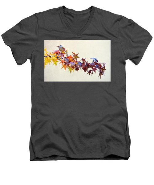 Men's V-Neck T-Shirt featuring the photograph Leaves Of Many Colors by AJ Schibig
