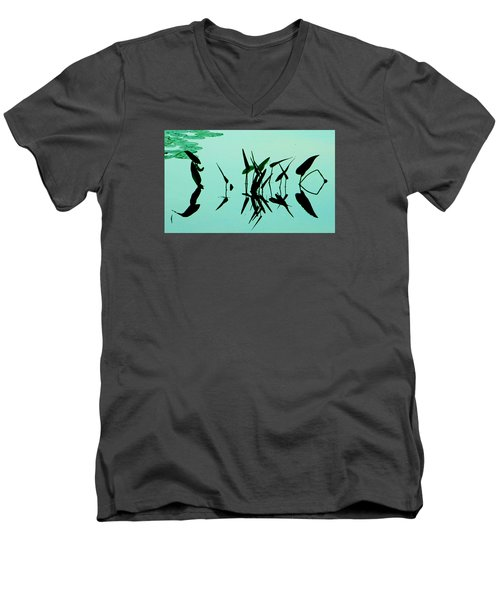 Leaves And Dragonflies 2 Men's V-Neck T-Shirt by David Gilbert