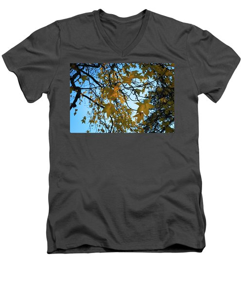 Men's V-Neck T-Shirt featuring the photograph Leaves by Cendrine Marrouat