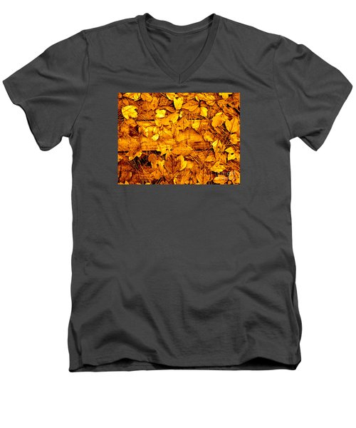 Men's V-Neck T-Shirt featuring the photograph Leaves Of Sepia by Cathy Dee Janes
