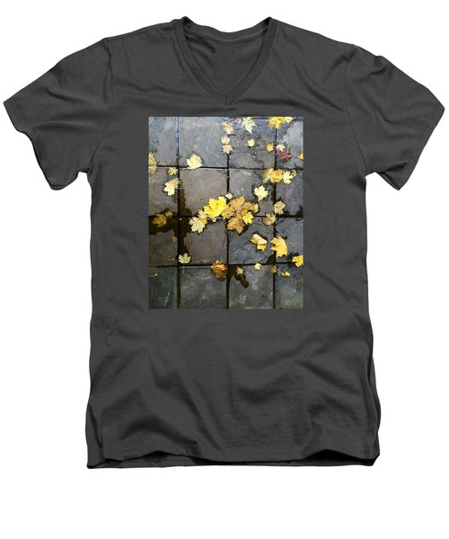 Leaves On Slate Men's V-Neck T-Shirt by Suzanne Lorenz