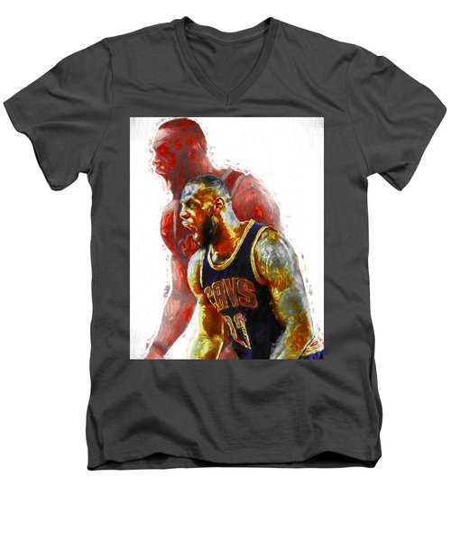 Lebron James 23 1 Cleveland Cavs Digital Painting Men's V-Neck T-Shirt