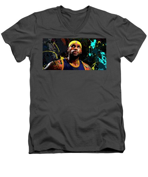 Men's V-Neck T-Shirt featuring the painting Lebron by Richard Day