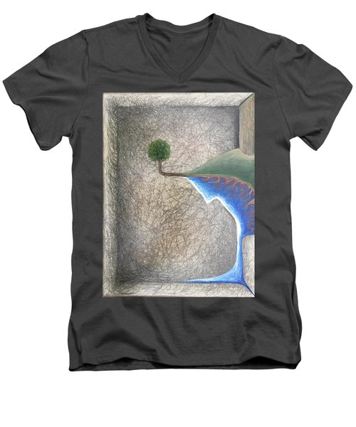 Men's V-Neck T-Shirt featuring the mixed media Left Universe by Steve  Hester