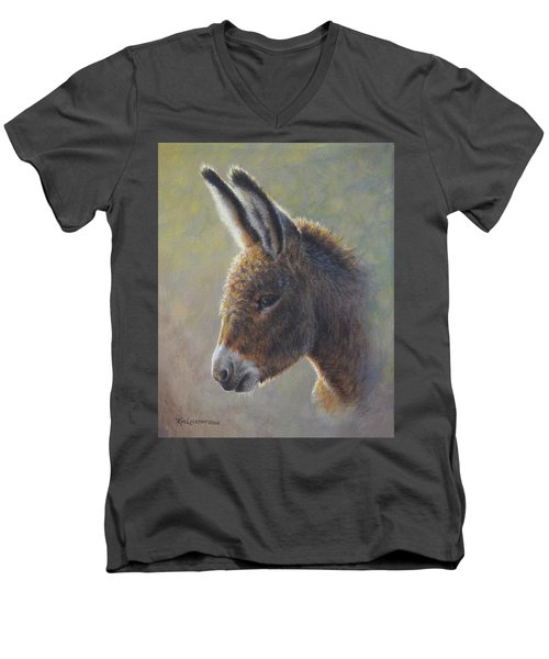 Men's V-Neck T-Shirt featuring the painting Lefty by Kim Lockman