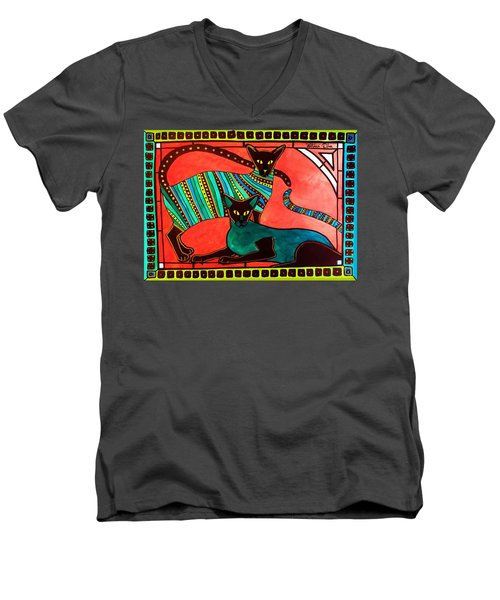 Men's V-Neck T-Shirt featuring the painting Legend Of The Siamese - Cat Art By Dora Hathazi Mendes by Dora Hathazi Mendes