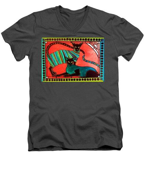 Legend Of The Siamese - Cat Art By Dora Hathazi Mendes Men's V-Neck T-Shirt