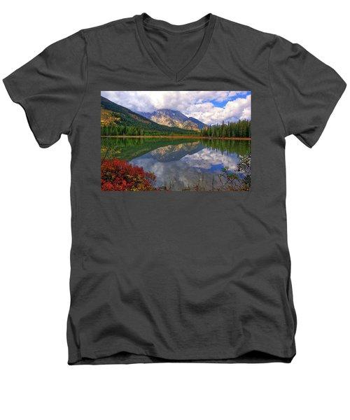 Leigh Lake Morning Reflections Men's V-Neck T-Shirt