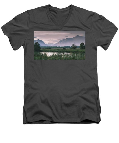 Leisure Boat On River Adda In Northern Italy, Close To Lake Como - Reflection Of Italian Alps Men's V-Neck T-Shirt