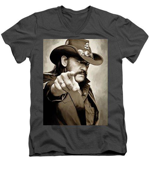 Men's V-Neck T-Shirt featuring the painting Lemmy Kilmister Motorhead Artwork 1 by Sheraz A