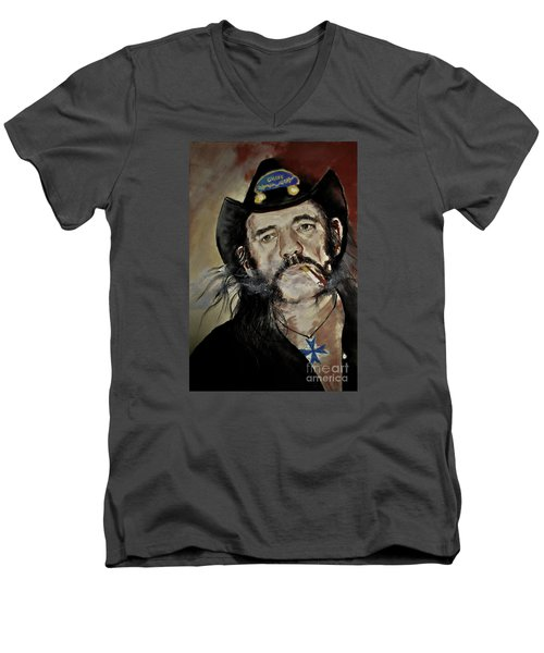 Lemmy Kilmister Motorhead Men's V-Neck T-Shirt by Maja Sokolowska