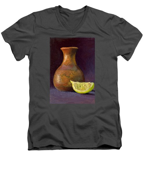 Lemon And Horsehair Vase A First Meeting Men's V-Neck T-Shirt by Catherine Twomey