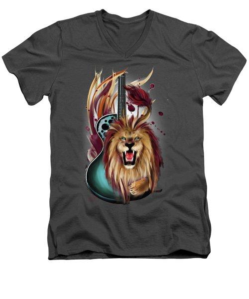 Leo Men's V-Neck T-Shirt by Melanie D